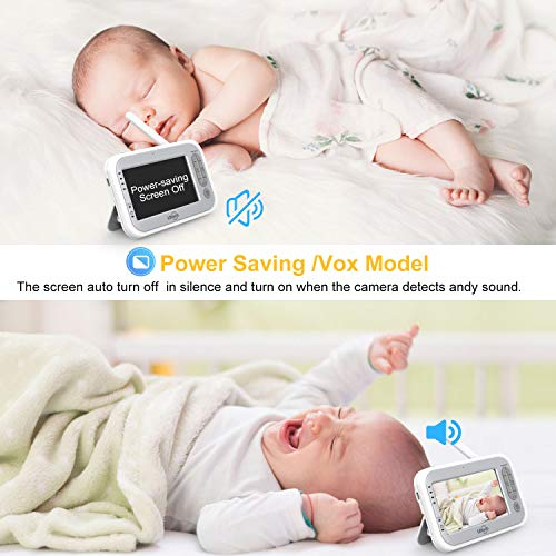 LBtech Video Baby Monitor with Two Cameras and 4.3'' LCD,Auto Night Vision,Two-Way Talkback,Temperature Detection,Power Saving/Vox,Zoom in,Support Multi Camera by LBtech (Image #5)