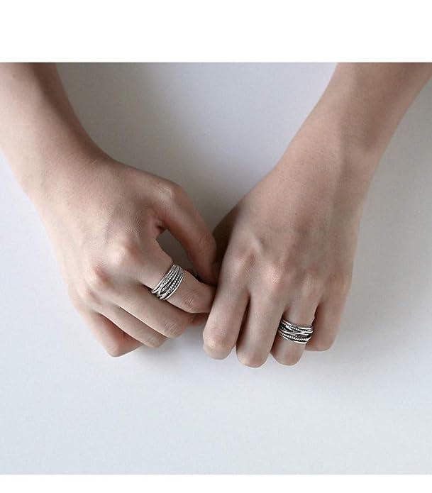 JewelryPop S925 Plata esterlina Anillo Multicapa Enrollado ...