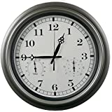 Swonda Large Silent Waterproof Wall Clock With Thermometer And Hygrometer  For Indoor Or Outdoor, Non
