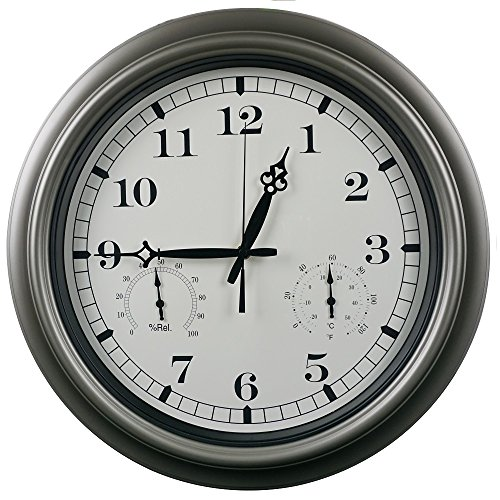 Swonda Large Silent Waterproof Wall Clock with Thermometer and Hygrometer for Indoor or Outdoor, Non-Ticking, 18 inch (Outdoor Clocks, 18 inch) by Swonda
