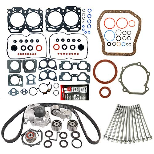 (MOCA Timing Belt Kit & MPLUS Head Gasket Set & Lower Gasket Set & Head bolts Compatible for 1999-2003 Subaru Legacy Impreza Forester Outback 2.5L H4 EJ25 SOHC)