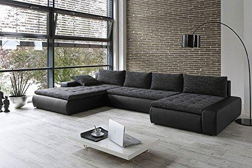 Wohnlandschaft Cayenne 389x212/162cm anthrazit schwarz, Sofa Schlaffunktion Couchecke
