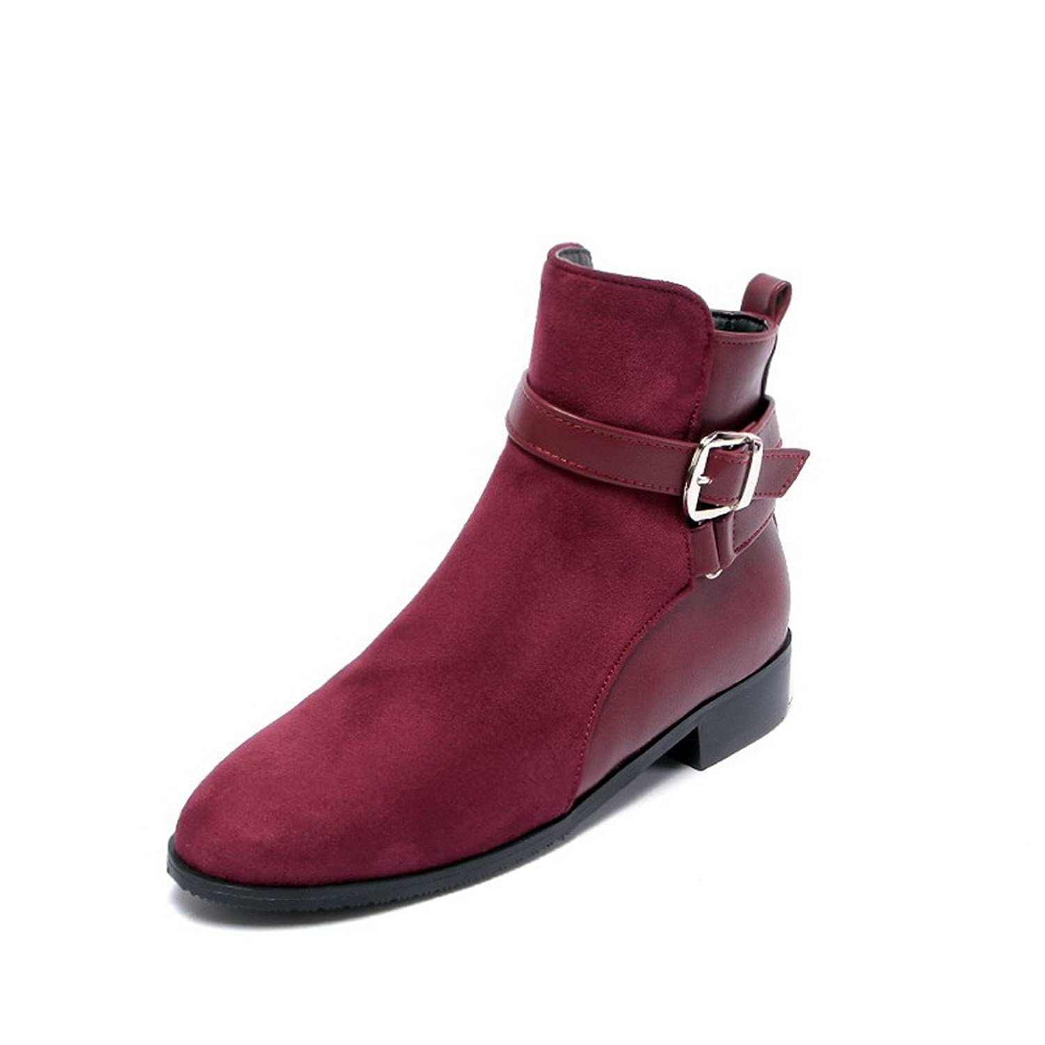 AllhqFashion Women's Low-Heels Solid Round Closed Toe Soft Material Zipper Boots