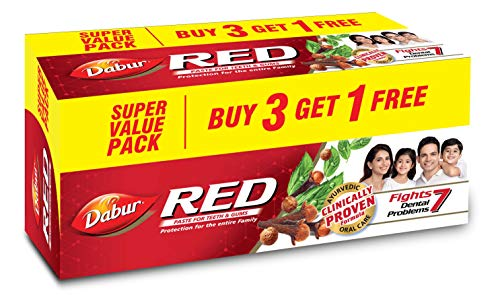 Dabur Red Paste – India's No.1 Ayurvedic Paste , Provides Protection from Plaque , Toothache , Yellow teeth , Bad Breath…