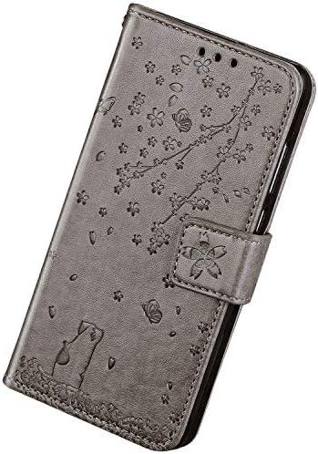 Herbests Kompatibel mit Samsung Galaxy A7 2018 Hülle Klapphülle Leder Tasche Vintage Flip Schutzhülle Wallet Handyhülle Kirschblüte Blumen Katze Muster Brieftasche Handytasche Case Ständer,Grau