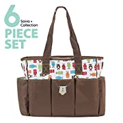 SoHo diaper bag Soren Owl 6 pcs nappy tote bag large capacity for baby mom dad stylish insulated unisex multifunction waterproof large capacity includes changing pad stroller straps Brown