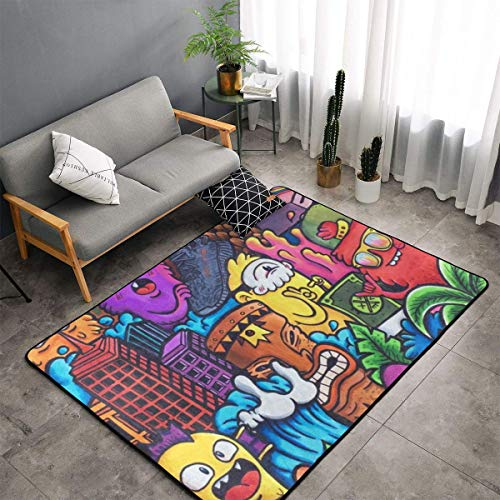Bedroom Living Room Kitchen Extra Large Kitchen Rugs Home Decor - Colorful Scarry Monster Floor Mat Doormats Fast Dry Toilet Bath Rug Yoga Mat Throw Rugs Runner