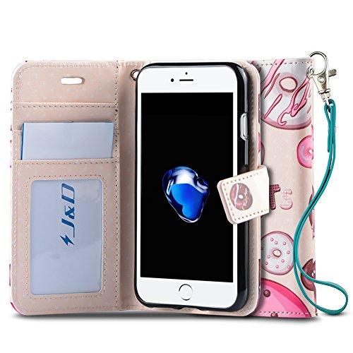 J&D Case Compatible for iPhone 8 Plus/iPhone 7 Plus Case, [Wallet Stand] [Slim Fit] Heavy Duty Shock Resistant Flip Cover Wallet Case for Apple iPhone 8 Plus, Apple iPhone 7 Plus Wallet Case - Donut