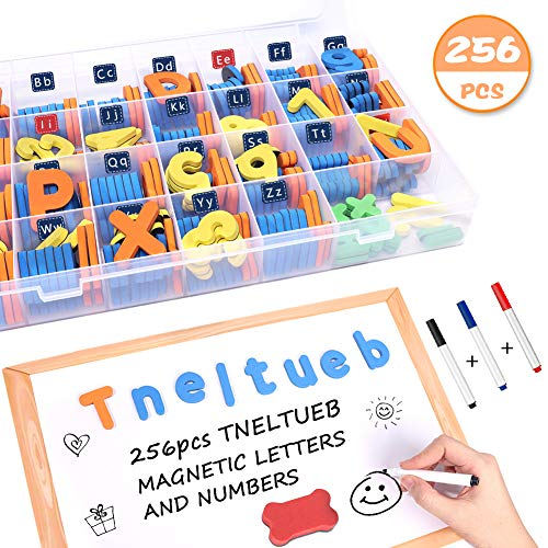 Alphabet Foam Storage - TNELTUEB 256PCS Magnetic Letters Kit and Numbers with Large Double-Side Magnet Board and Storage Box, Foam Alphabet Letters for Fridge, Box Package for Kids Spelling and Learning - Classroom & Home