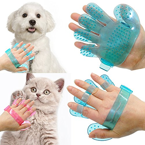 2 PCs Pet Shower Bath Palm Shape Brush Gloves Cat Dog Animal Grooming Massage Tool (Hummingbird Palm Feeder)