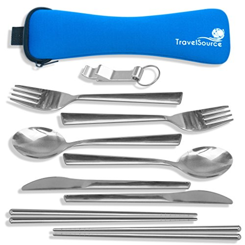 TravelSource 2-Person Stainless Steel Portable Eating Utensils Set - for Camping and Travel with Case, Bottle Opener and Chopsticks