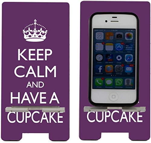 Rikki KnightTM Keep Calm and have a Cupcake - Purple - Smart Cell Phone Holder Charger Stand for iPhone 4/4s/5/5s/5c, Motorola Moto X, Galaxy S3/S4/S5/Note 3/Ace 2, LG Optimus Gpro/G2/L3/4X HD, Sony Xperia Z1S/U, HTC Droid/One/One X/Pro/mini, Blackberry G