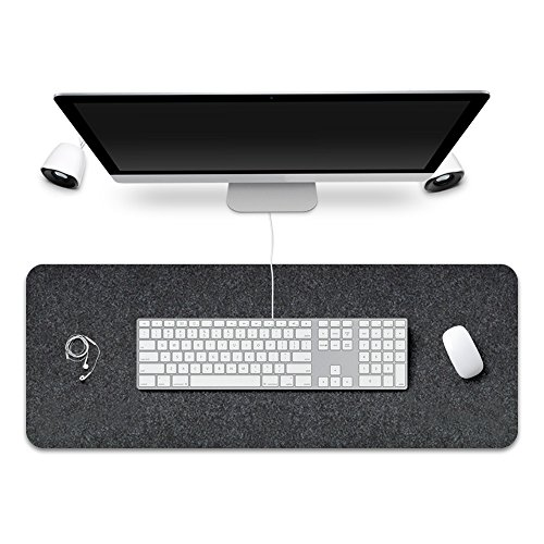 FireBee Extended Gaming Mouse Pad Large Long Desk Mat Non-Slip Felt Base 0.12 Inch Thick (Dark Gray)
