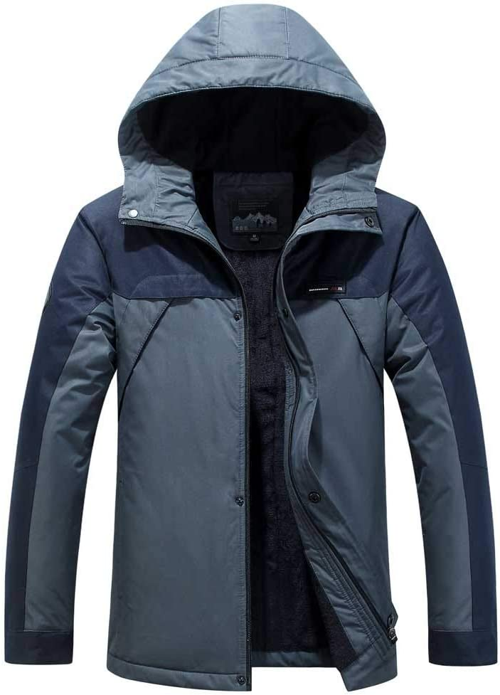 Muranba Mens Winter Coats Hooded Softshell Plus Velvet Windproof Waterproof Soft Coat Shell Jacket