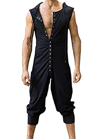 72341d29554 Karlywindow Men s Jumpsuit Sleeveless Hooded Button Harem Pants Jumpsuits  Overalls