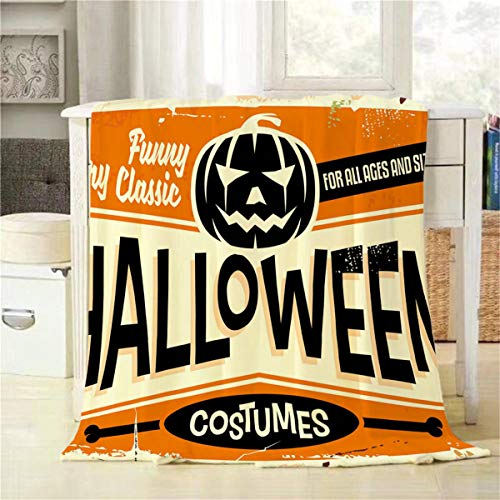 Mugod Halloween Costumes Shop Throw Blanket Vintage Advertising Sign with Pumpkin Head and Promotional Messages Decorative Soft Warm Cozy Plush Throws Blankets for Bedding Sofa Couch 40 X 50 Inch