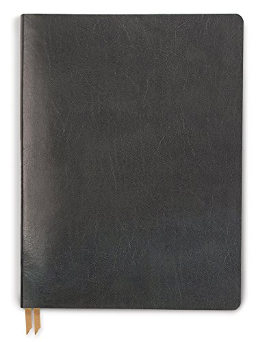 DesignWorks Ink Leather Bound Flex Personal Journal, 6 x 8-Inches, Grid Ruled, Charcoal