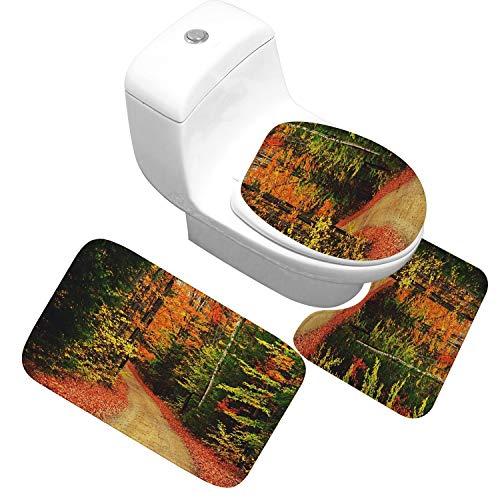Bathroom Mat Set Antiskid Washroom Carpet Toilet Mats Bath Rugs Absorbent Bathroom Carpet Toilet Seat Lid Cover Floor Mat,QWL,Big Size