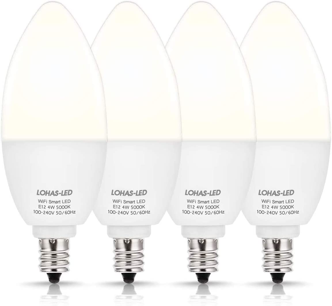 LOHAS-LED Smart LED Bulbs, Candelabra Base E12 LED Bulb Dimmable Smart Daylight 50W Equivalent, 5000K LED WiFi Bulb No Hub Required Work with Alexa Google Home for Chandelier Ceiling Fan Bulb, 4Pack