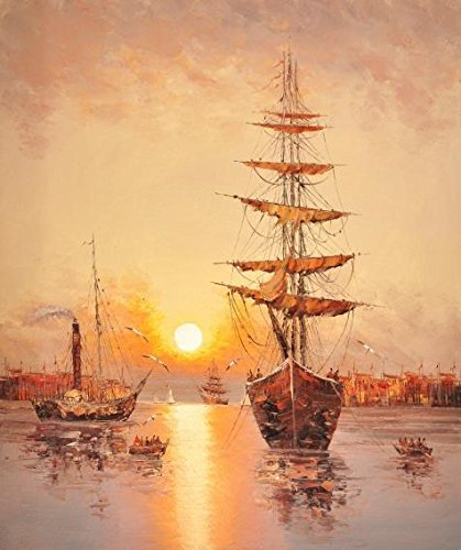 Oil Painting 'Landscape Of Sailing Ships,Sea Gulls And Sunset' Printing On Perfect Effect Canvas , 20x24 Inch / 51x61 Cm ,the Best Powder Room Artwork And Home Decor And Gifts Is This High Resolution Art Decorative Canvas Prints