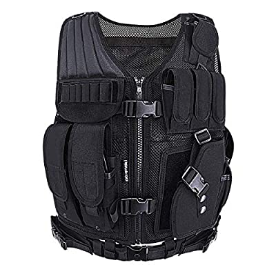 MGFLASHFORCE Adjustable Tactical Vest Airsoft Vest Breathable Military Combat Black Training Vest for Outdoor Hunting,Fishing,Army Fans,CS Game,Paintball,Survival Game, Combat Training