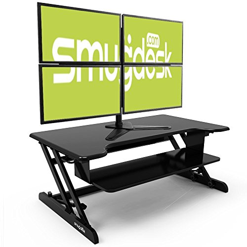 Smugdesk Standing Desk, Stand up Adjustable Desk Riser Converter for Desktop Laptop Dual Monitor by Smugdesk