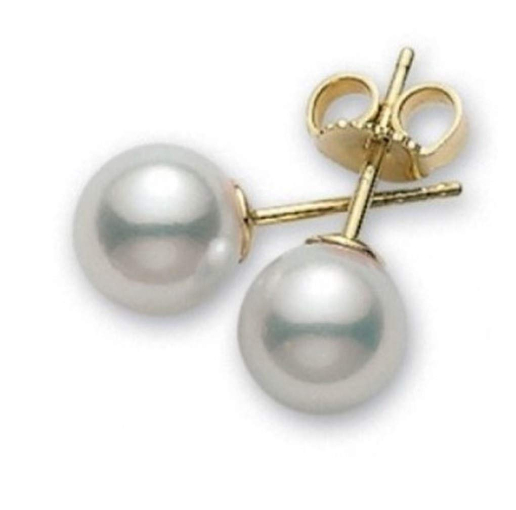 Akoya Cultured Pearls AAA Quality High Luster Earrings for Women (yellow-gold, 7.5-8mm)