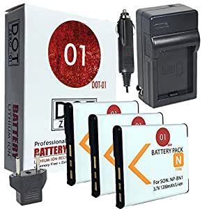 3x DOT-01 Brand 1200 mAh Replacement Sony NP-BN1 Batteries and Charger for Sony DSC-W380 Digital Camera and Sony BN1