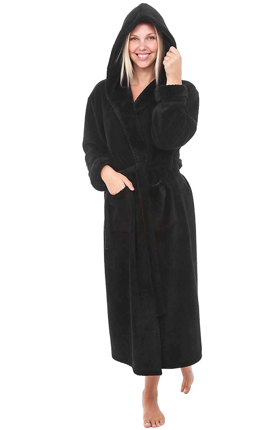 Black With Jacquard Del Rossa Women's Fleece Robe, Long Hooded Bathrobe