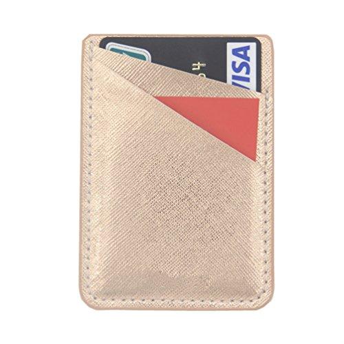 Card Holder For Back Of Phone-Self Adhesive Stick On Credit Card Wallet for Back of Phone (Rose Gold) Back Holder