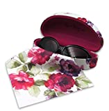 Rachel Rowberry Floral Large Sunglasses Case with eyeglass cleaning cloth in a unique Microfiber ultra soft finish   for Large frames (AS179 Cranberry Rose)