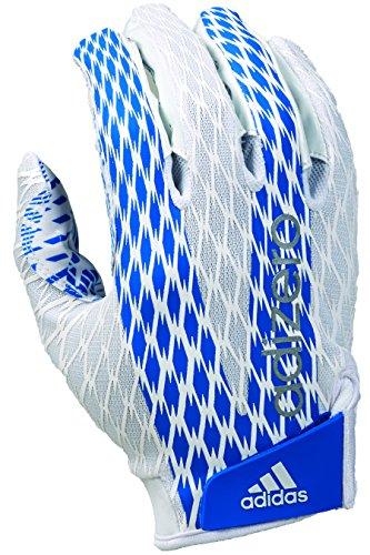 adidas Adizero 4.0 Adult Football Receiver's Gloves, White/Royal, X-Large