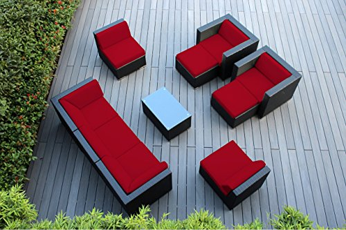 (Ohana 10-Piece Outdoor Wicker Patio Furniture Sectional Conversation Set with Weather Resistant Cushions, Sunbrella Red (PN1001srd))
