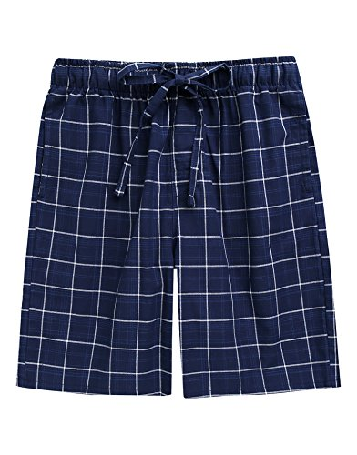 TINFL Boys Soft Cotton Plaid Check Sleep Lounge Shorts BSP-SB015-Navy L