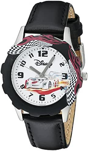 Disney Kids' W000398 Tween Cars Stainless Steel Printed Bezel Black Leather Strap Watch