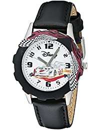 Kids' W000398 Tween Cars Stainless Steel Printed Bezel Black Leather Strap Watch