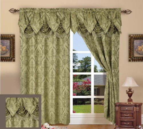 - Elegance Linen Luxury Jacquard Curtain Panel Set with Attached Valance 55