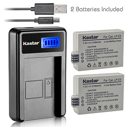 Kastar Battery (X2) & LCD Slim USB Charger for Canon LP-E5 LPE5 and Canon EOS Rebel XS, Rebel T1i, Rebel XSi, 1000D, 500D, 450D, Kiss X3, Kiss X2, Kiss F digital camera, BG-E5 grip