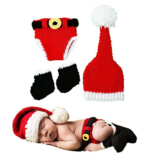 Baby Christmas Photography Props, Soft Hand Crochet Kit Photos for Baby Girls Boys (Boy Girl Twin Halloween Costumes)
