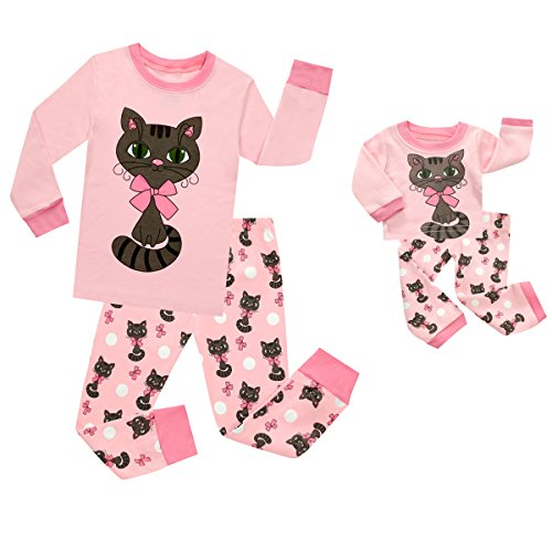 TinaLuLing Lovely Cat Matching Doll & Girl 2 Piece Pajama Set Top & Pants 100% Cotton Sleepwear (PC06-4T)