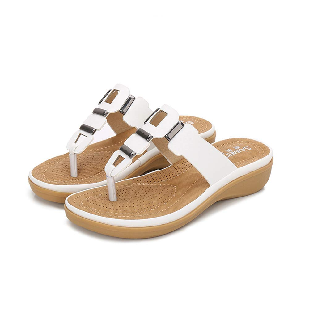 White Women's Sandals Flip-Flops, Summer shoes, Large Size Wedges, Platform Clip Toe Sandals,Suitable for Home, Beach, Daily Wear, Leisure, Vacation, Travel, Casual