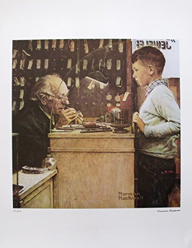 Artwork by Norman Rockwell 1978 Signed Limited Edition Lithograph Print. After the Original Painting or Drawing. The Watchmaker Paper 33 Inches X 25 Inches