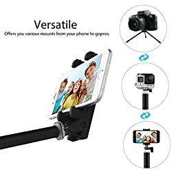 Selfie Stick with Bluetooth Remote & Tripod Stand, MoKo 4ft Extendable Self-portrait Monopod, Phone Holder Width Up to 88mm for iPhone 7/6S Plus, Galaxy S7 Edge, Pixel XL, Honor 5X, Moto, BLU - BLACK
