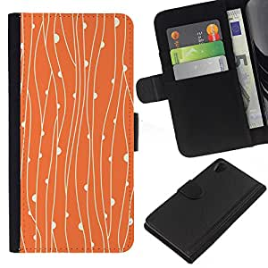 KingStore / Leather Etui en cuir / Sony Xperia Z2 D6502 / Rústico floral anaranjado del papel pintado;