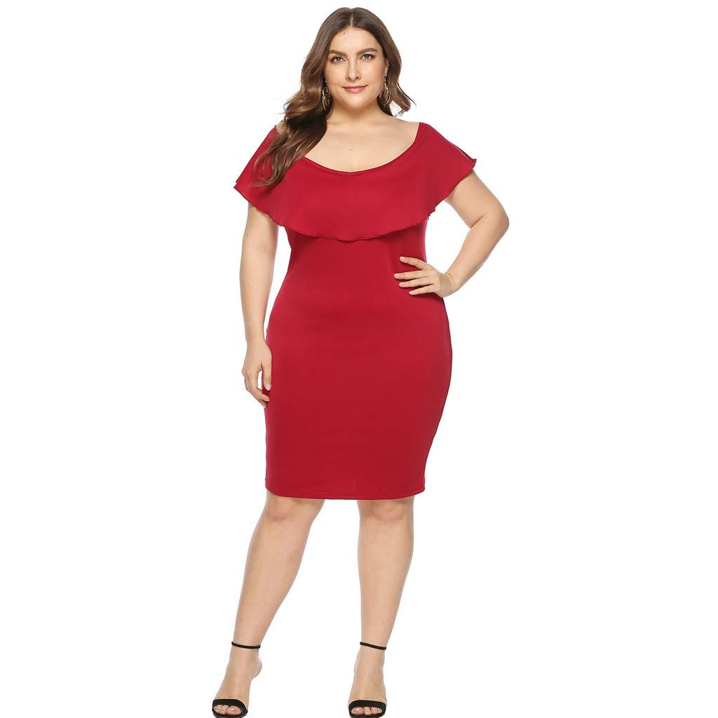 ZOMUSAR 2019 Women Plus Size Sexy Cold Shoulder Dress Solid Ruffle Pleated Mini Dress Red by ZOMUSAR (Image #5)