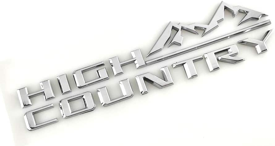 High Country Namteplate Emblem 3D Badge Fender Rear Tailgate Sticker Replacement for Silverado Sierra Chrome