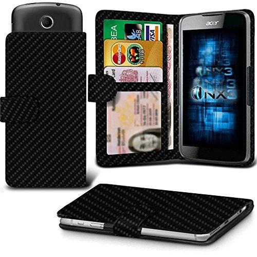 ONX3 (Carbon Fibre) Intex Aqua Classic 2 Case Universal Adjustable Spring Wallet ID Card Holder with Camera Slide and Banknotes Slot