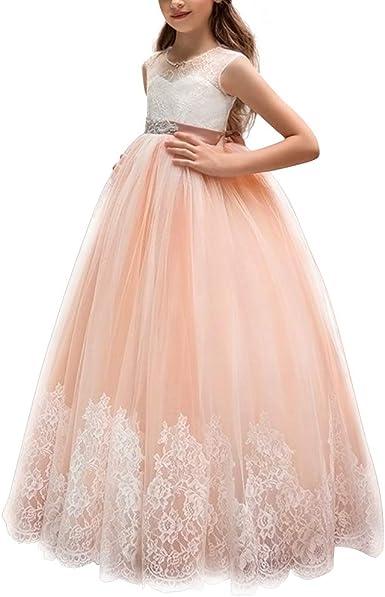 IWEMEK Princesa Vestido de Primera Comunión Cordón Tul Vestido de ...