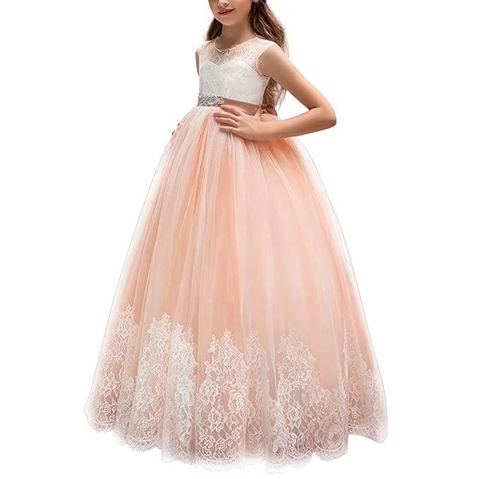 IWEMEK Princesa Vestido de Primera Comunión Cordón Tul ...