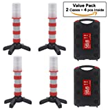 WISLIGHT LED Emergency Roadside Flashing Flares Safety Strobe Light - Road Warning Beacon , Magnetic Base, Detachable Stand, Storage Case (2 Cases = 4 PCS, Battery Not Included)